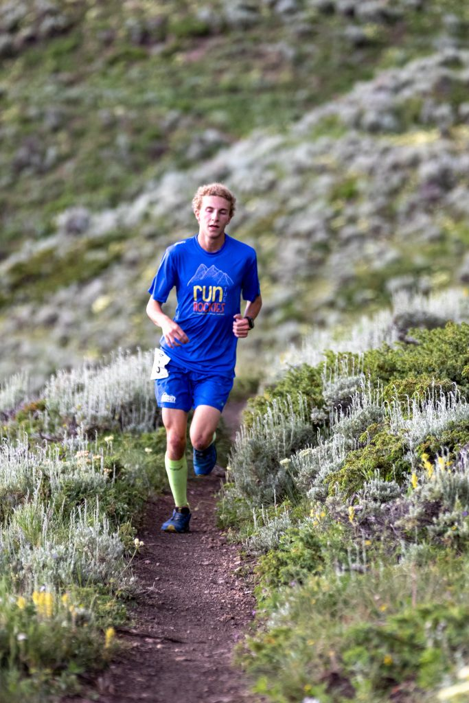 Jeremiah Vaille runs during Wednesday evening's Horseshoe Gulch 6K/14K, the fourth of six races in this summer's Summit Trail Running Series. Vaille's time of one hour, 12 minutes and 18 seconds was eighth overall and second in the boys 13-17 age-group division.