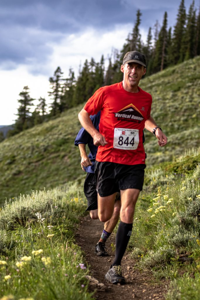 Mark Martin-Williams runs during Wednesday evening's Horseshoe Gulch 6K/14K, the fourth of six events in this summer's Summit Trail Running Series. Martin-Williams' time of one hour, six minutes and 47 seconds was second overall and first in the men's 40-49 age-group division.