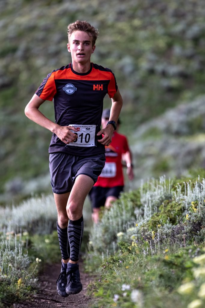 Samuel Burke runs during Wednesday evening's Horseshoe Gulch 6K/14K, the fourth of six events in this summer's Summit Trail Running Series. Burke's time of one hour, seven minutes and 47 seconds earned him third place overall and first in the boys 13-17 age-group division.