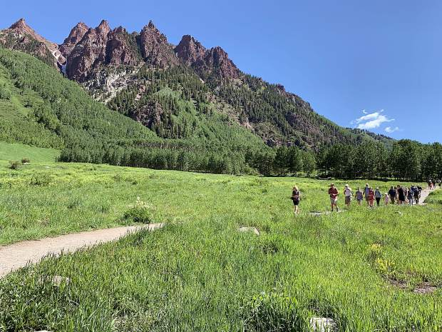 Aspen Skiing Co. provided some local media members with an e-bike ride to the Maroon Bells on Tuesday as part of a celebration of the opening of the new Maroon Bells Basecamp at Aspen Highlands.