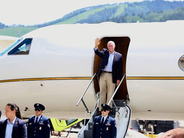 Vice President Mike Pence's Aspen visit brings out supporters, protesters
