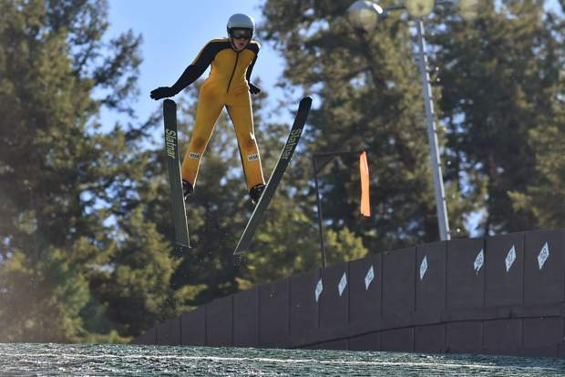 Ski jumpers practice at Howelsen Hill on Tuesday, July 2, ahead of the Fourth of July Jumpin' and Jammin' competition.