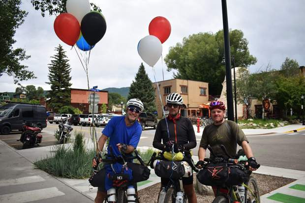 Steamboat Springs native Michael de Jong, left, poses with fellow Tour Divide competitors Simon Maindonald, middle, and Martyn Gibbons, right.