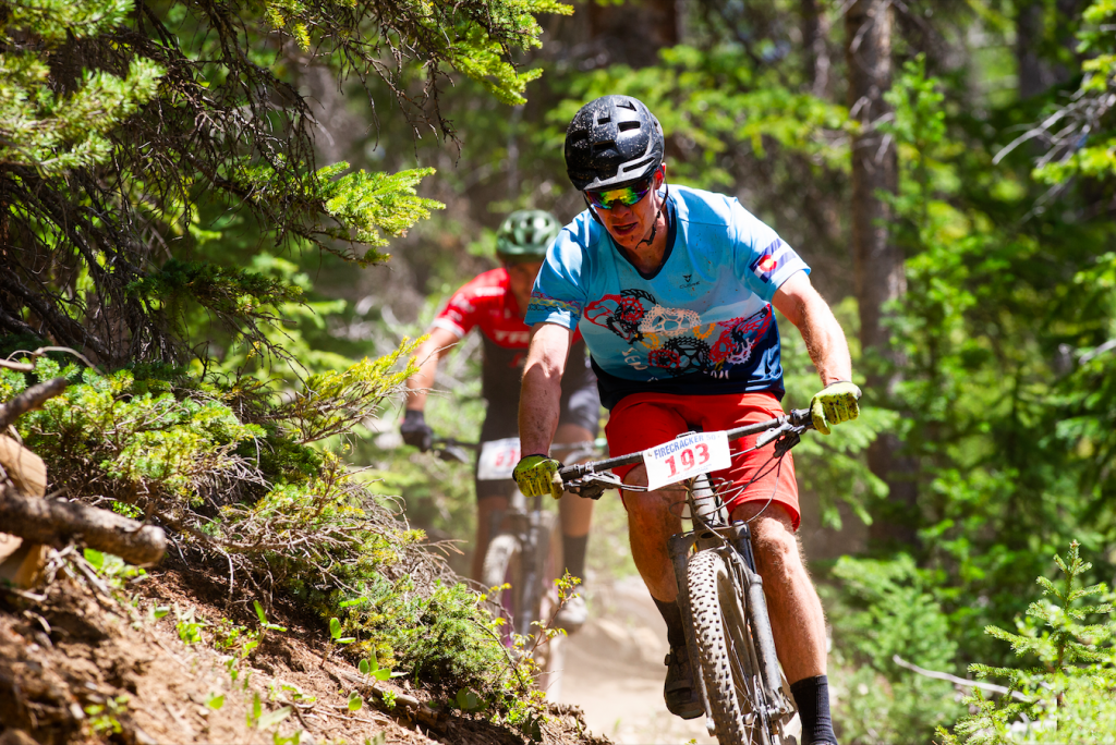 Breckenridge local Nathan De Graaf races in the Firecracker 50 July 4 mountain bike race in Breckenridge while wearing a jersey to honor his late friend Eric Dube.