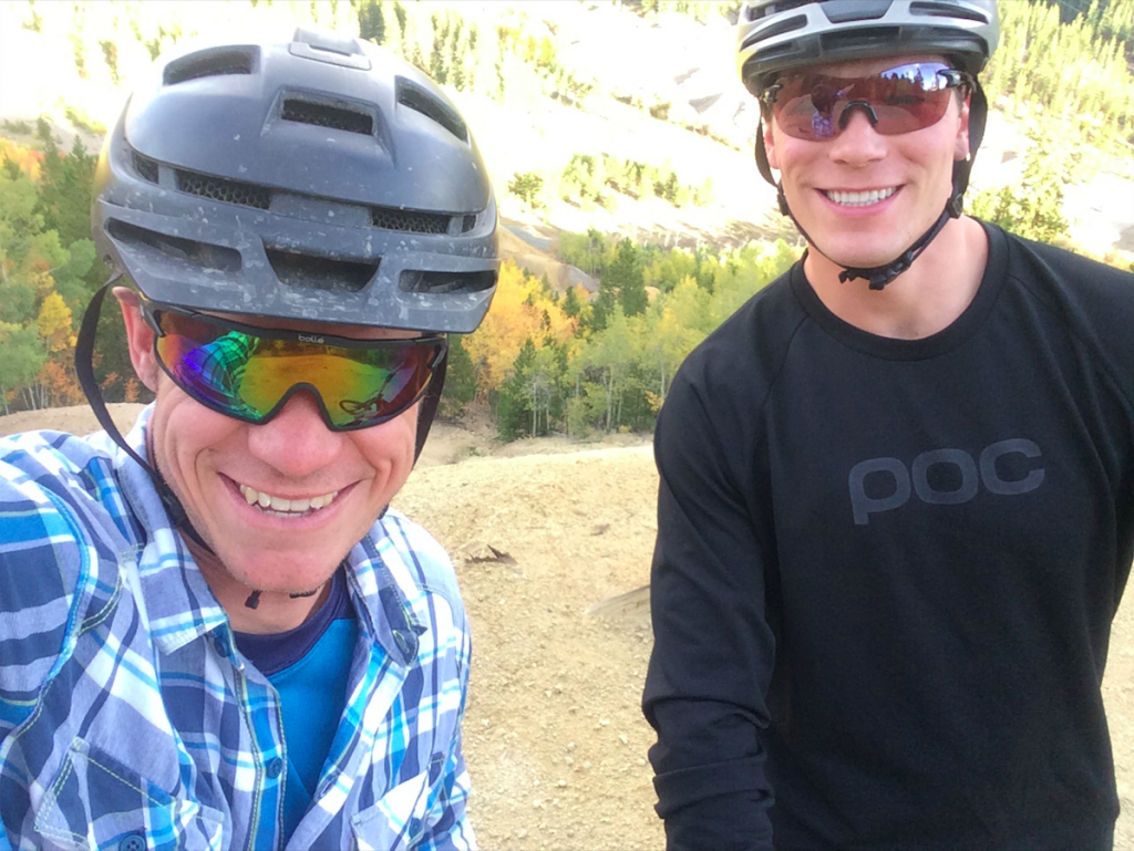 Breckenridge local Nathan De Graaf and his late friend Eric Dube take a photo in the autumn of 2017 at the top of the Minnie Mine while out for a mountain bike ride.