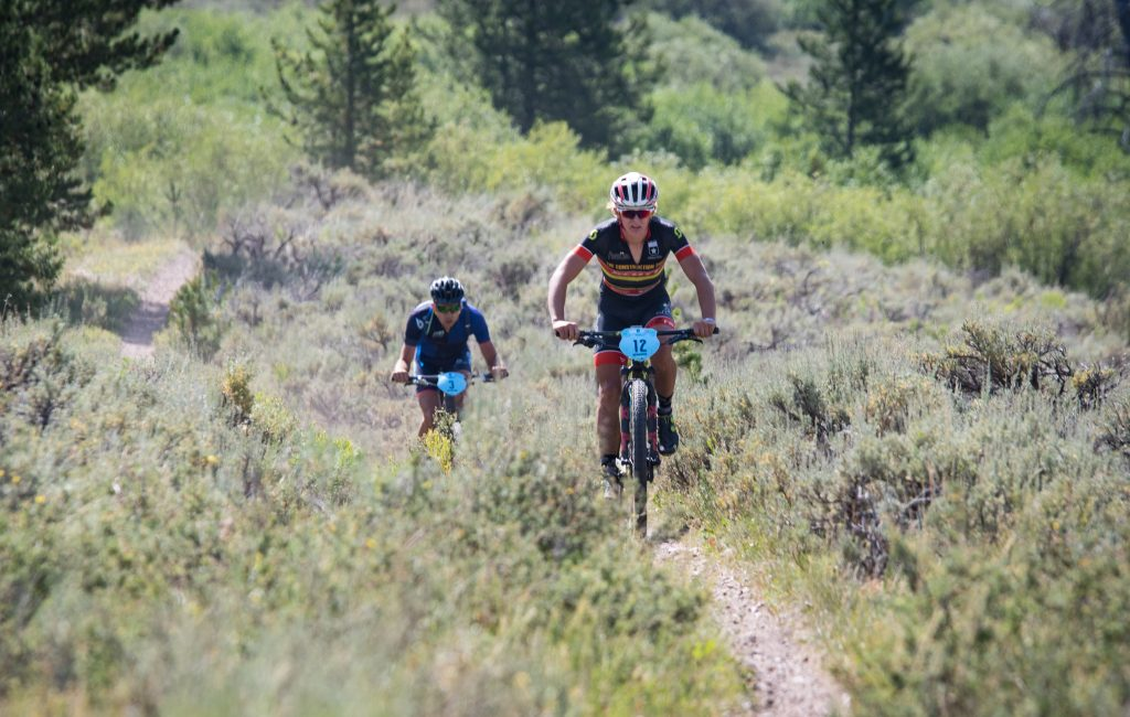 Nash Dory, right, and Jamey Driscoll race on single track during the second stage of last year's Breck Epic mountain bike race, the 41-mile Colorado Trail stage.