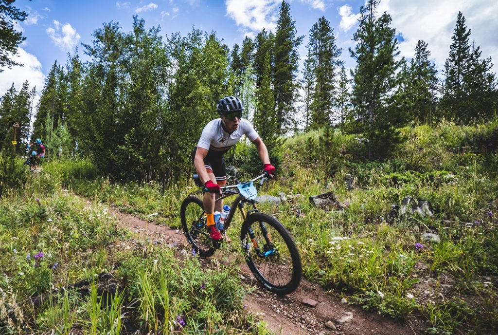 Dan McMahon rides single track during the first stage of the 2018 Breck Epic multistage mountain bike race, Pennsylvania Creek.