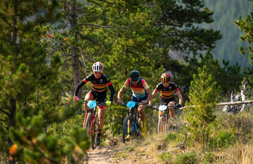 Kyle Trudeau leads a pack of mountain bikers racing during the fourth stage of the 2018 Breck Epic.