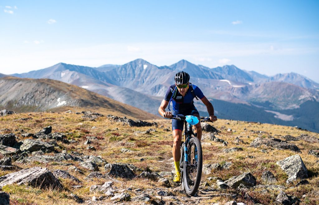 Jamey Driscoll rides above tree line during the fifth stage, Wheeler, of the 2018 Breck Epic multistage mountain bike race.