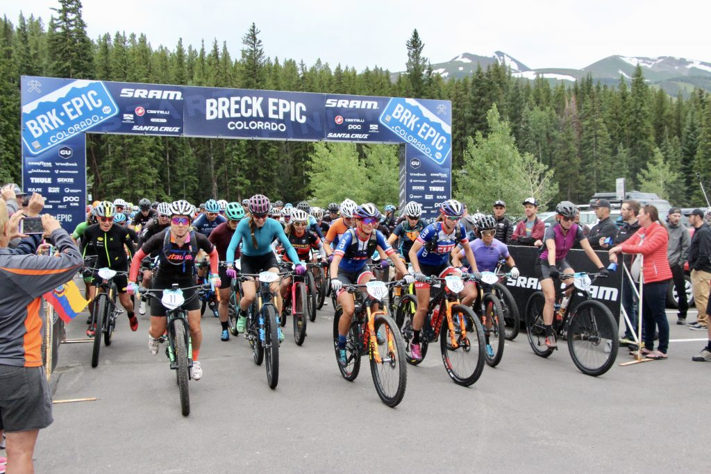 Breck Epic mountain bikers pose for a picture at the start line at Stephen C. West Ice Arena in Breckenridge before heading out for the first day -- the 36-mile Pennsylvania Creek stage -- of the 6-stage 211-plus mile Breck Epic race.