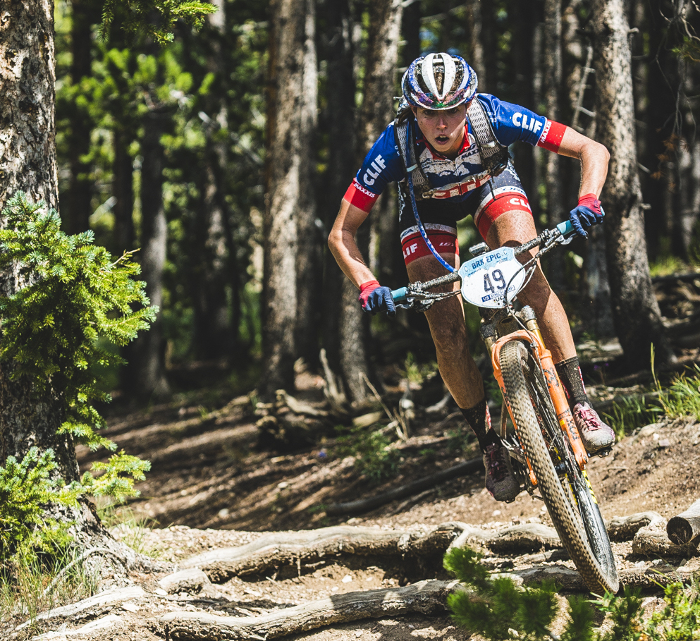 Hannah Finchamp cycles over some roots during Monday morning's second stage of the Breck Epic week-long mountain bike race. Finchamp took second place in the first two stages of this year's race.