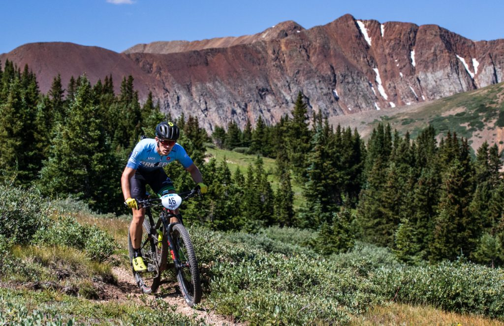 Connor Dilger rides singletrack during Tuesday's third stage of the 6-day Breck Epic mountain bike race.