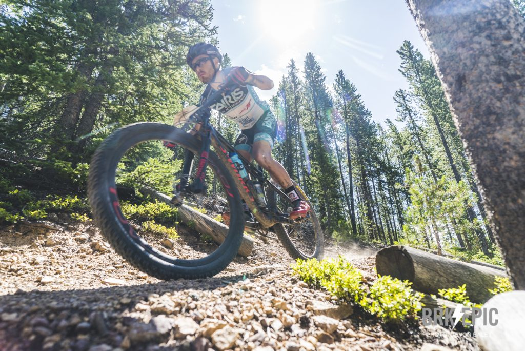 A mountain biker rides singletrack during the fourth stage of this year's six-day Breck Epic mountain bike race, the 41-mile Aqueduct.