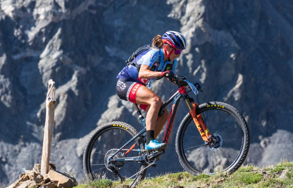 Women's race leader Katerina Nash pedals during the grueling traverse of the Tenmile Range as part of Thursday's fifth stage of the six-day Breck Epic mountain bike race.