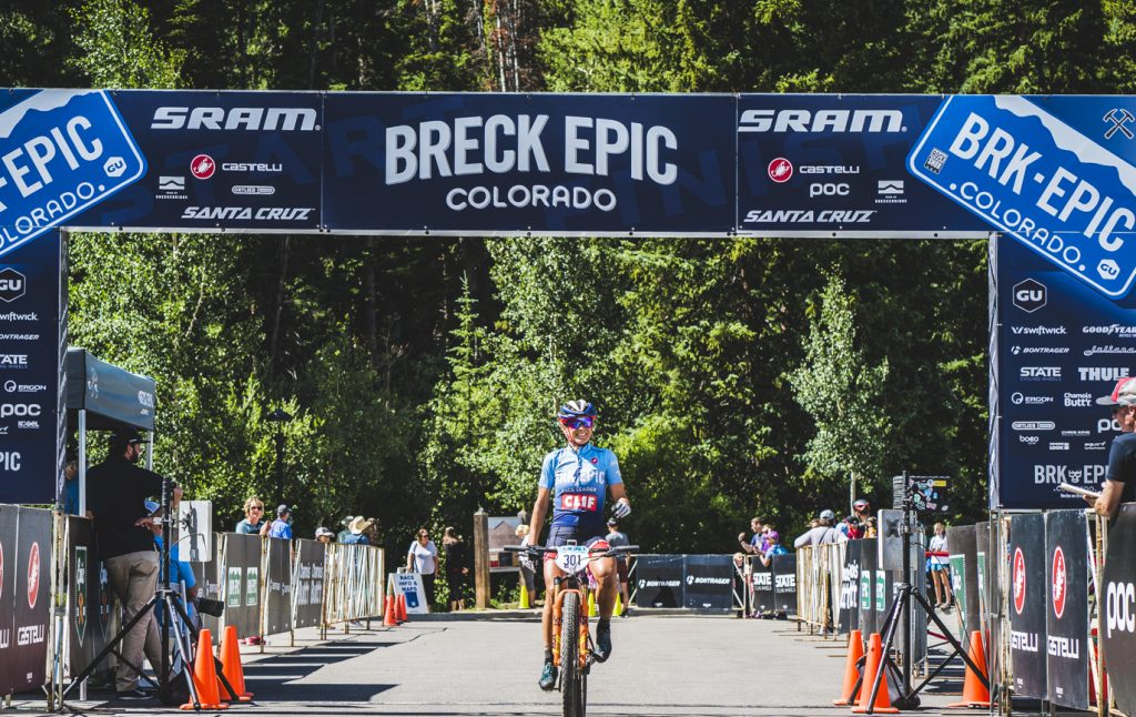 Katerina Nash of the Czech Republic rides through the final stage's finish line on Friday to win the Union Cycliste Internationale elite women's division at the 6-day Breck Epic mountain bike race.