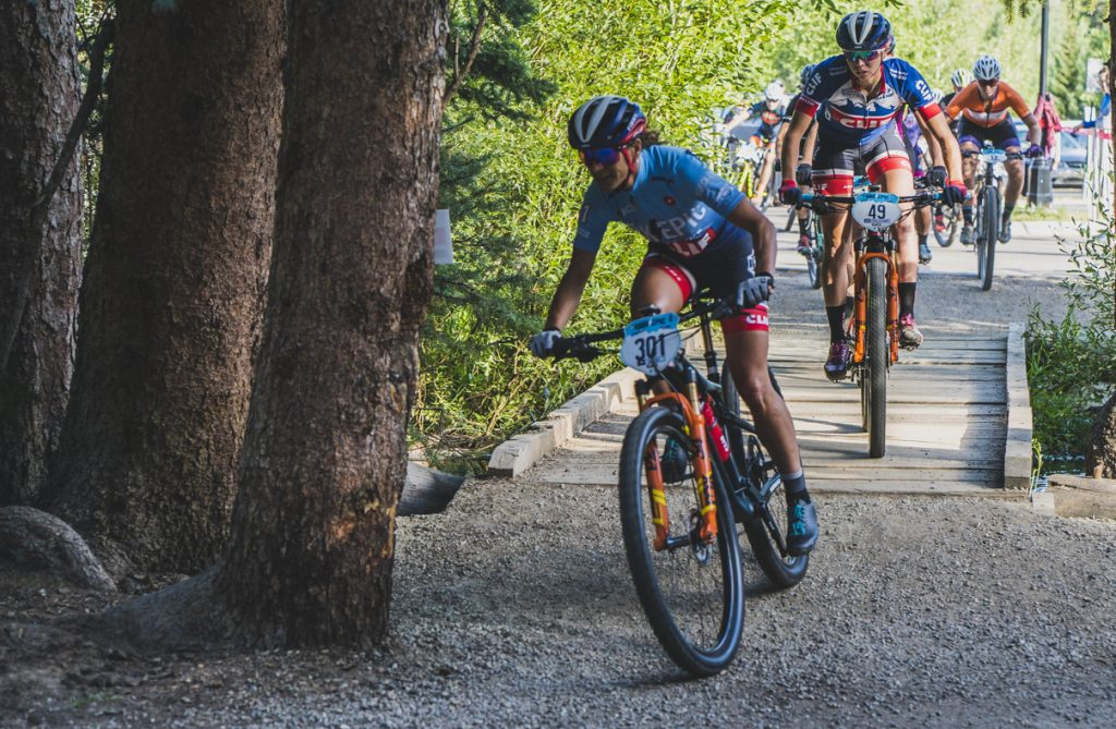 Katerina Nash and Hannah Finchamp ride during Friday's final stage of the 2019 Breck Epic six-day mountain bike race.