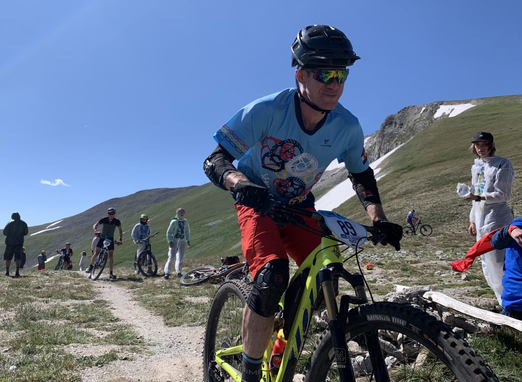 Nathan De Graaf of Breckenridge heads down the back side of Wheeler Pass during Thursday's fifth stage of the Breck Epic six-day mountain bike race, which he rode in honor of his late friend and fellow Breck local Eric Dube.