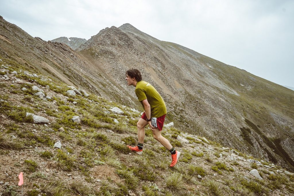 Summit High School rising senior Paul Hans runs above tree line during Saturday's Cirque Series trail running race at Arapahoe Basin Ski Area.