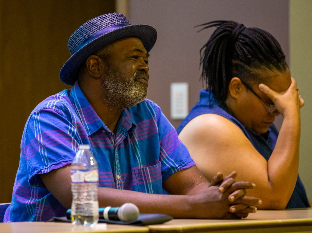 Kwame Ajamu, a falsely convicted former death row inmate, discusses the effects of incarceration at a criminal justice discussion at Colorado Mountain College in Breckenridge on Tuesday, Aug. 20.