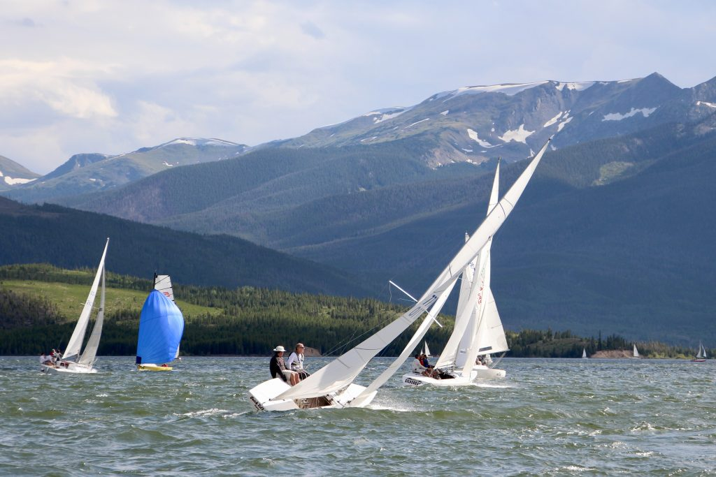 The Silverback boat (at center), helmed by Frank Keesling, sails upwind with other boats on Saturday during the 2019 Dillon Open on Lake Dillon.