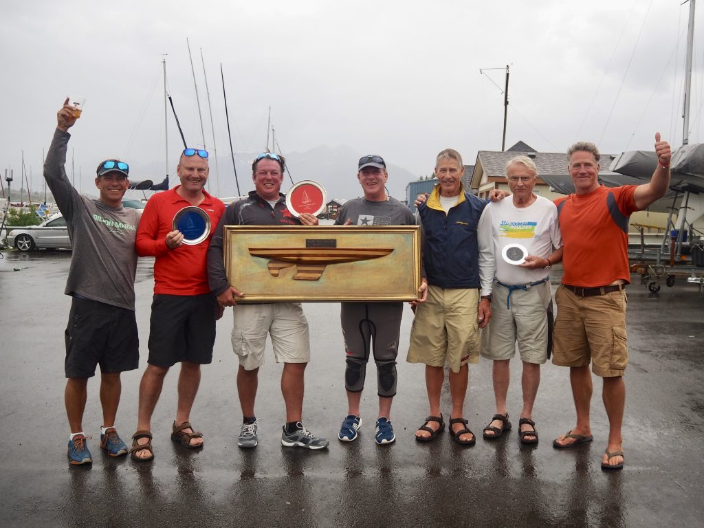 The first-, second- and third-place finishers in the Star fleet racing division pose for a celebratory photo together on Sunday at the Dillon Marina as part of the 2019 Dillon Open on Lake Dillon.