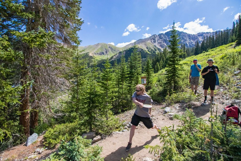 An athlete steps to throw during this past weekend's inaugural Arapahoe Basin Alpine Open of disc golf at Arapahoe Basin Ski Area.