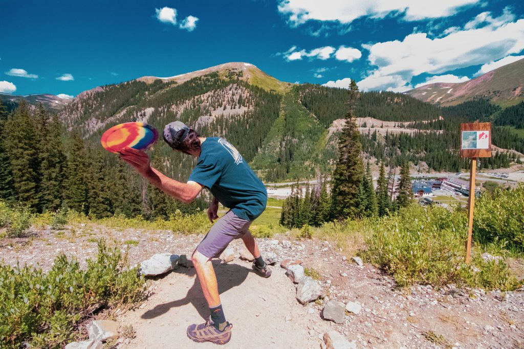 An athlete uncorks a throw during this past weekend's inaugural Arapahoe Basin Alpine Open of disc golf at Arapahoe Basin Ski Area.