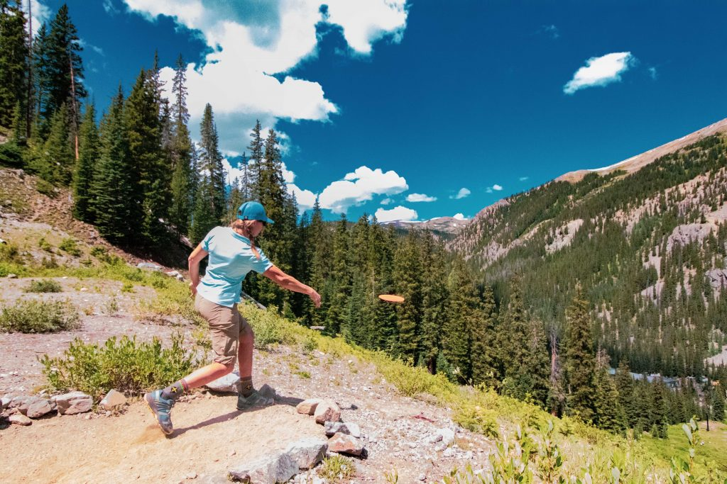 An athlete hurls a disc during this past weekend's inaugural Arapahoe Basin Alpine Open of disc golf at Arapahoe Basin Ski Area.