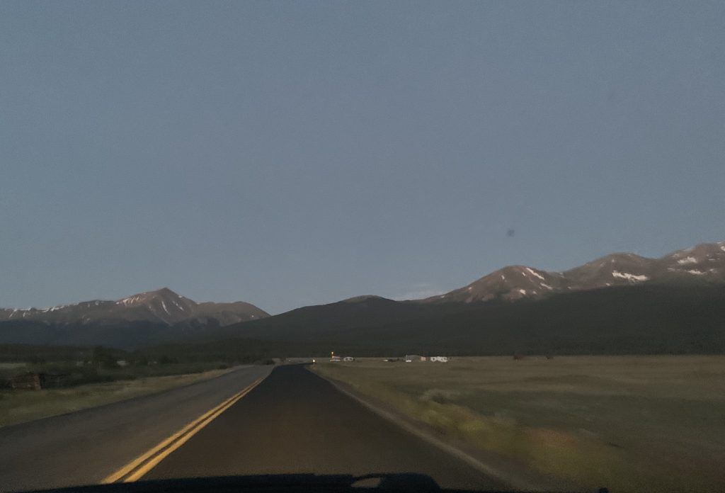 The view of Mount Elbert, left, and its sister and second-highest mountain in Colorado Mount Massive, at right, while driving on Lake County Road 11 south of Leadville to the North Mount Elbert Trailhead.