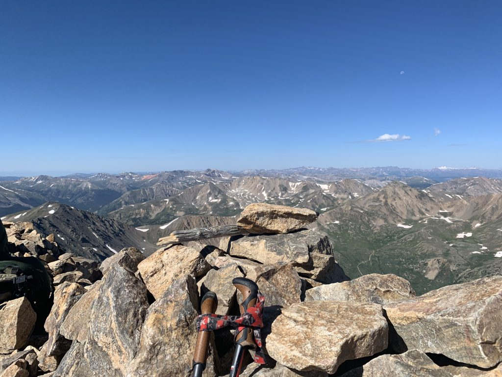A view to the northwest from Mount Elbert's 14,440-foot summit provides expansive views of some of the state's highest points in all directions.