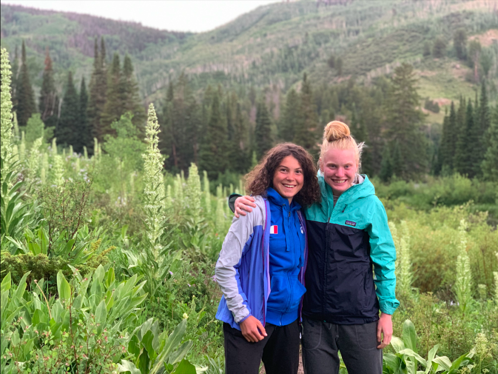 Italian ski mountaineering rising star Samantha Bertolina, left, and Summit County multisport star Grace Staberg pose for a photo at Lower Cataract Lake in northern Summit County earlier this summer.