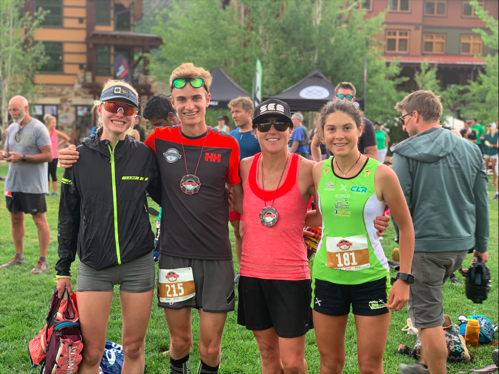 Summit County locals Grace Staberg, from left, Sam Burke, Jaime Brede and Samantha Bertolina, an Italian ski mountaineering athlete, pose for a photo at Aspen Snowmass after top finishes at the July 13 Power of Four trail running event.