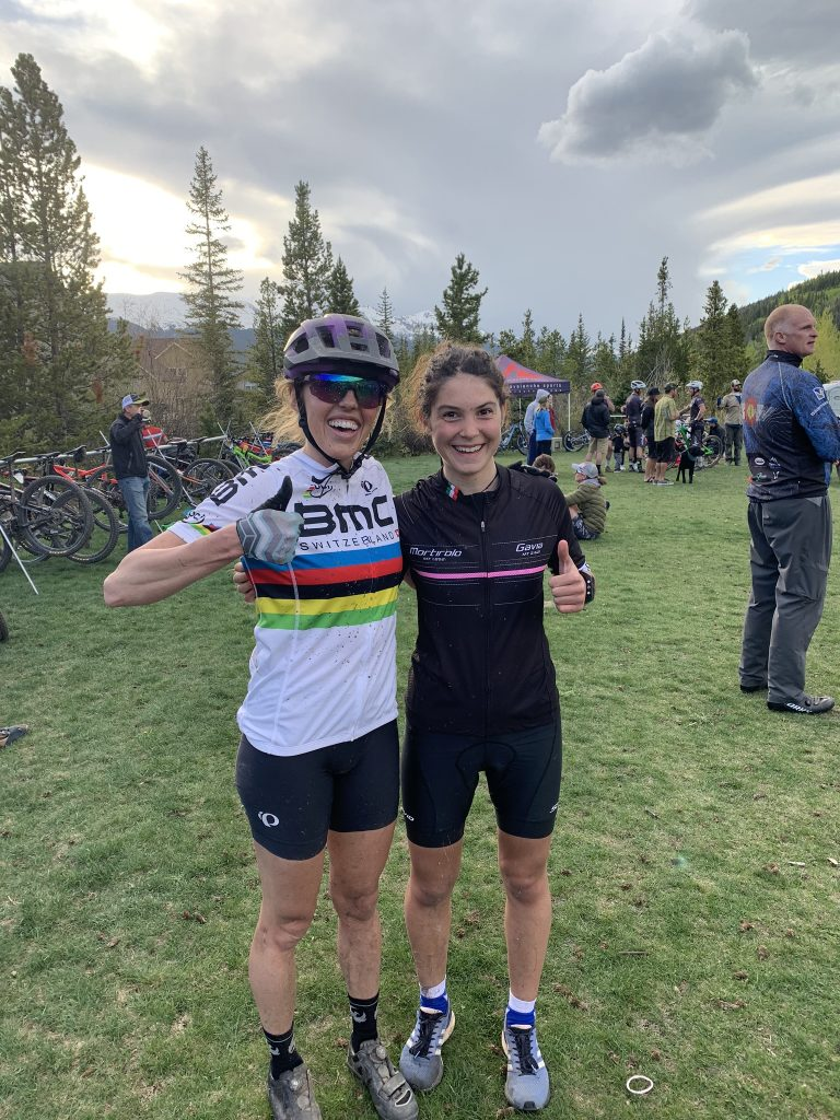 Summit local Sierra Anderson, left, poses for a celebratory picture with visiting Italian ski mountaineering rising star Samantha Bertolina during a Summit Mountain Challenge mountain biking event earlier this summer.