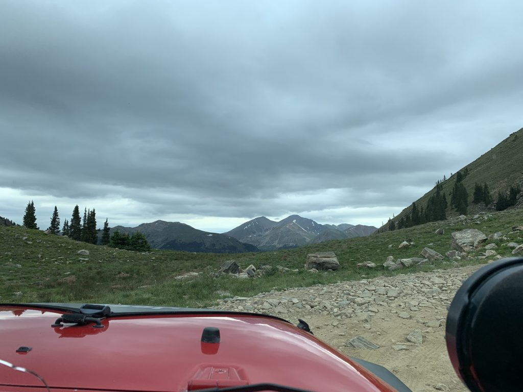 A view of the ridgeline road, including Grays and Torreys peaks straight ahead, while riding the Saints John Jeep road on Aug. 10.