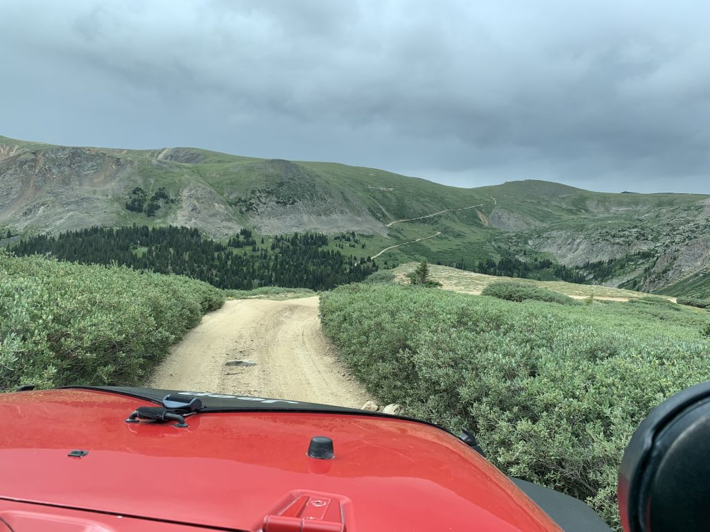 Riding through some tight brush during a Jeep trip on the Saints John route on Aug. 10
