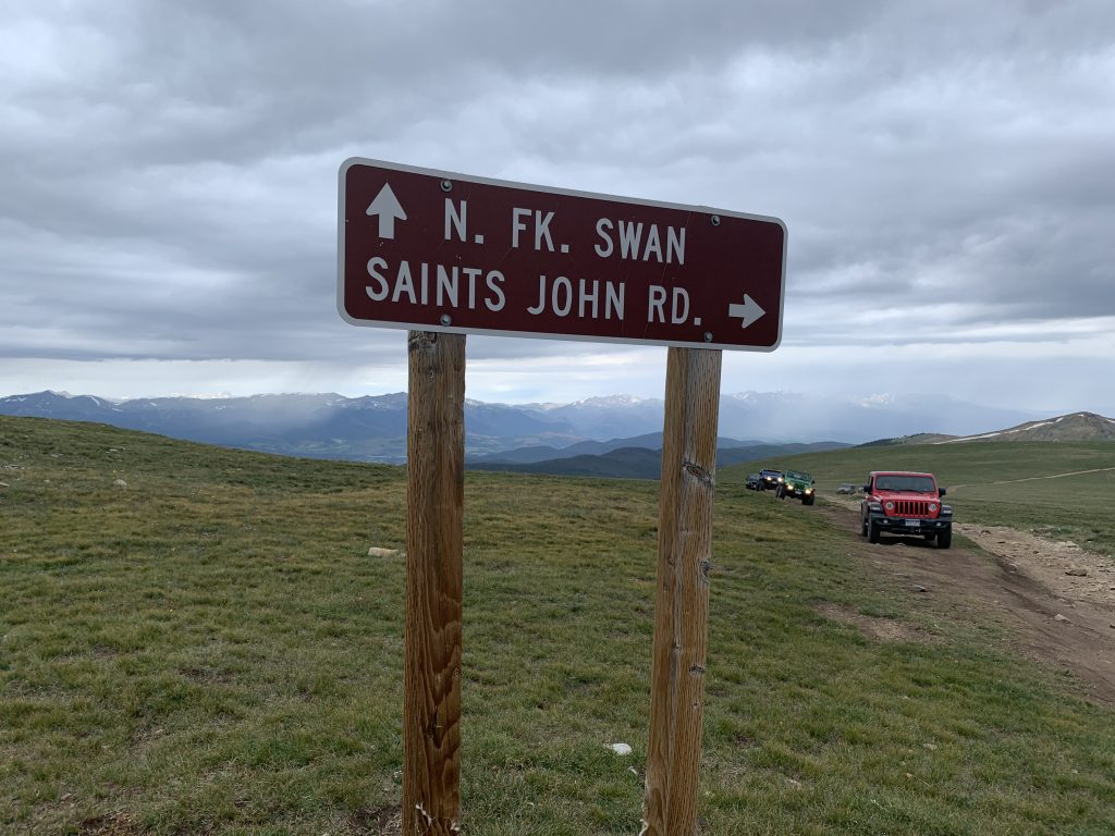 A parade of Jeeps reac the above-tree-line junction of the Saints John and North Fork of the Swan Jeep roads on Aug. 10.