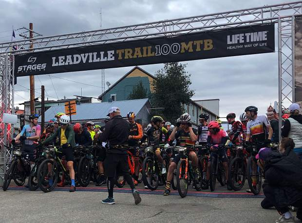 Riders prepare to embark on the 100-mile Leadville Trail 100 MTB race, produced by Life Time, on Saturday. Of the 1,643 riders that started the race, 1,332 crossed the finish.