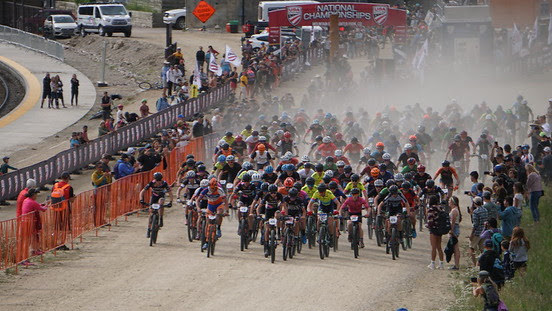 An uphill mass start is seen at last month's USA Cycling Mountain Bike National Championships in Winter Park.