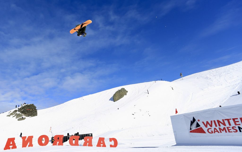 Chris Corning of Silverthorne executes a trick in mid-air during Friday's World Cup big air qualifying round in Cardrona, New Zealand.