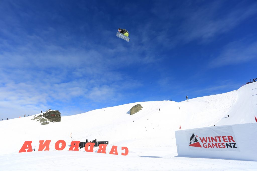 Red Gerard, of Silverthorne, executes a trick in mid-air during Friday's World Cup big air qualifying round in Cardrona, New Zealand.