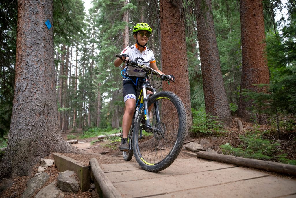 Mia Wuppermann of Leadville competes during the Summit Mountain Challenge Peak Trail Time Trial on Wednesday, Aug. 21 in Breckenridge.