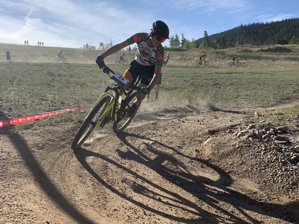 Finn Remias of Summit High rides during Sunday's first meet of the 2019 Colorado High School Cycling League mountain bike season, the Frisco Bay Invitational at the Frisco Peninsula.