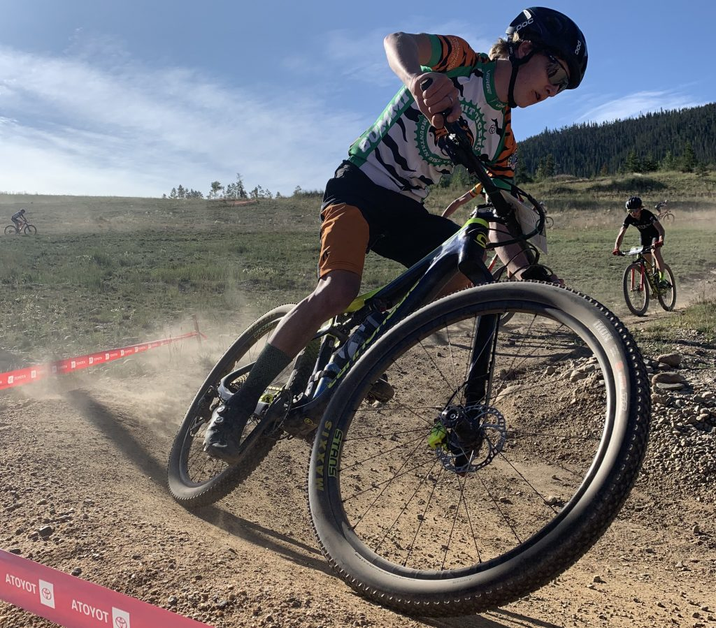 Lasse Konecny, of Summit High School, rides during the first meet of the 2019 Colorado High School Cycling League mountain bike season, the Frisco Bay Invitational at the Frisco Peninsula.