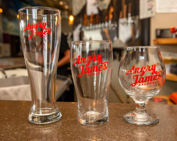 Glassware with a fresh look at Angry James Brewing in Silverthorne.