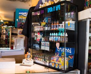 A display of vaping products is available on the counter at one of Frisco, Colorado's local shops, Smok N Bra, on Wednesday, Aug. 14, 2019. The products for vaping contain nicotine. (Liz Copan / ecopan@summitdaily.com)