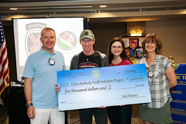 The Vail Rotary Club recently surprised Chris Anthony with a $5,000 check to help with the completion of