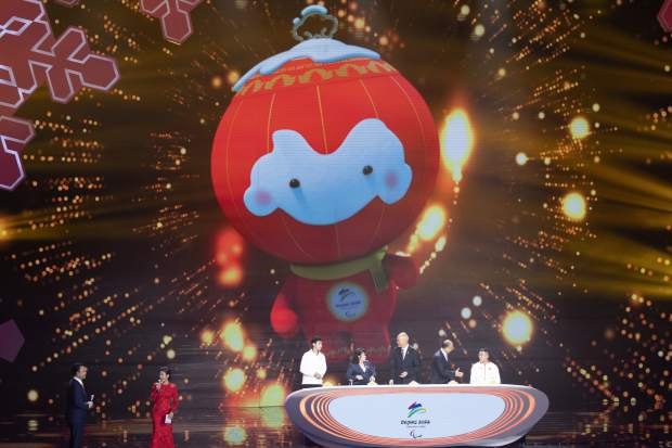 2022 Winter Paralympic Games mascot Shuey Rong Rong is revealed during a ceremony held at the Shougang Ice Hockey Arena in Beijing on Tuesday.