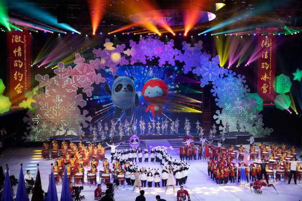 Beijing 2022 Winter Olympic Mascot Bing Dwen Dwen, left on screen and 2022 Winter Paralympic Games mascot Shuey Rong Rong, right on screen are revealed during a ceremony held at the Shougang Ice Hockey Arena in Beijing on Tuesday.