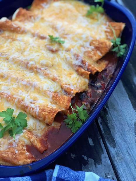Vegetarian black bean enchiladas.