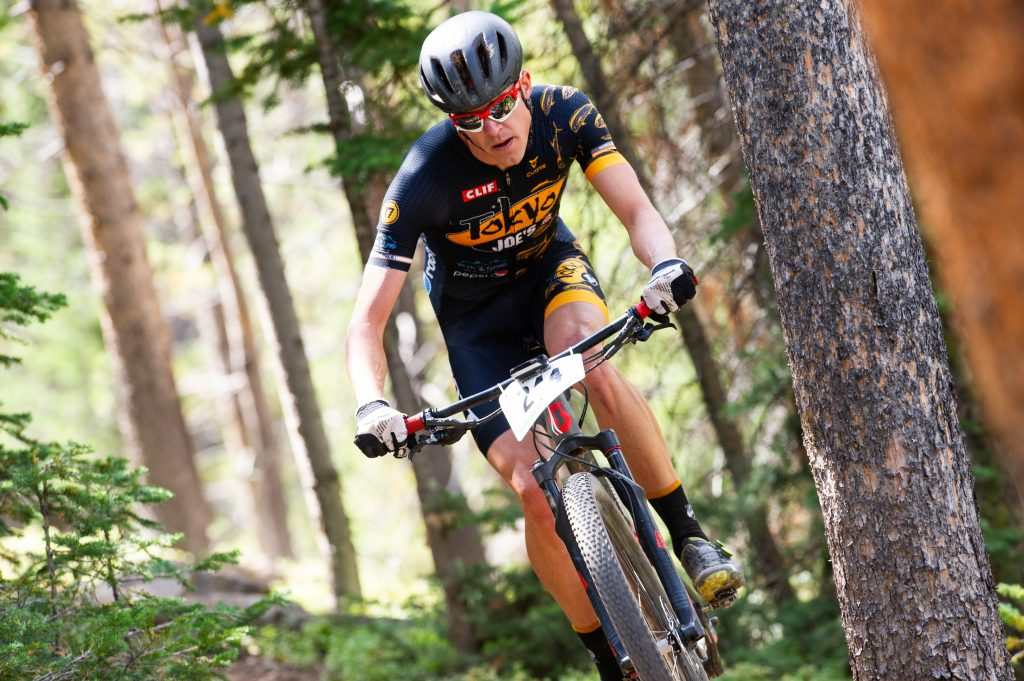 Taylor Shelden of Breckenridge pedals through a forested portion of the Fall Classic 30-mile mountain bike race on Sunday in Breckenridge. Shelden won the race with a time of two hours, 13 minutes and 16 seconds.